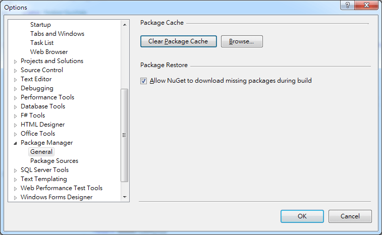 VisualStudio2012-options- packages