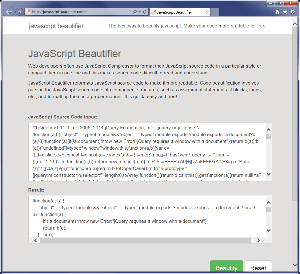 JavaScript Beautifier Test